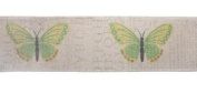 Pack of 6 Beige and Green Butterfly Decorative Wired Jute Fabric Ribbon 7.6cm x 19.8 Yards