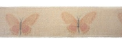Pack of 6 Beige and Pink Butterfly Decorative Wired Jute Fabric Ribbon 7.6cm x 3.3 Yds