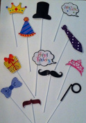 12 Pc Colourful Photo Booth Props - Accesorios Para Fotografia