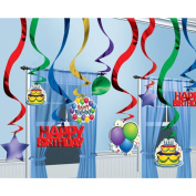 25 Balloons Happy Birthday Party Hanging Cutouts Foil Swirls Decorations