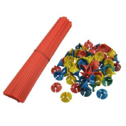 Water & Wood Party Favours Red Balloon Sticks w Multicoloured Cups 100 Pcs