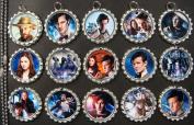 15 Doctor Who SILVER Bottle Cap Pendant Necklaces Set 2