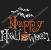 Happy Halloween Rhinestone Iron On Transfer