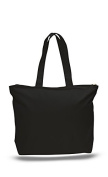 Canvas Zippered Tote Bag, Black