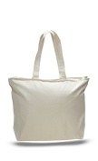 Canvas Zippered Tote Bag, Navy