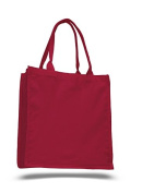 Canvas Slim Shopping Tote, Red