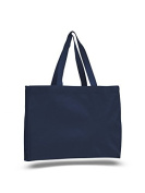 Canvas Shopping Tote w/ Gusset, Navy