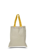 Canvas Coloured Handle Tote Bag, Gold