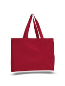 Canvas Shopping Tote w/ Gusset, Red