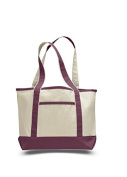 Canvas Small Boat Tote, Maroon