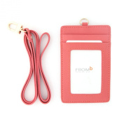 Leather Slim Credit Card Holder Id Card Case Holder Useful Purse with Neck Strap