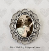Bridal Wedding Bouquet Photo Charm Vintage Look Silver Picture Frame Bouquet Photo Charm