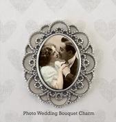 Bridal Wedding Bouquet Photo Charm Vintage Look Silver Picture Frame Bouquet Photo Charm