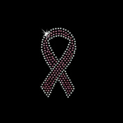 Iron on Hot Fix Rhinestone Motif Design Pink/Crystal Ribbon 10cm