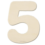 The Crafts Outlet 10cm Unfinished Plywood Wooden Number, 0.6cm Thick, Number 5