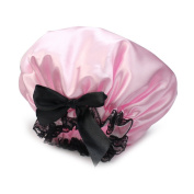 Pink Ribbon Waterproof Elastic Band Lace Bow Hat Hair Bath Shower Bouffant Cap