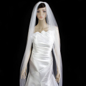 Bridal Wedding Veil Ivory 1 Tier Cathedral Length 0.3cm Satin Ribbon Edge