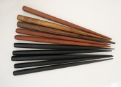 Set of 10 Wooden Hair Sticks, Six Inches Long, Mixed Colours 5 Black / 5 Brown