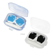 JAVOedge His and Hers Piggy Contact Lens Case, Blue Black