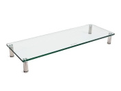 Multi Media Desktop Stand 1cm Thick Clear Glass with Chrome Legs