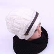 Women Girls Fashion Soft Winter Knitted White Cap and Black Neckerchief