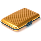 Aluminium Wallet Credit Card Holder RFID Protection Light Durable Safe & Stylish Gold One Size