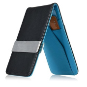Zodaca Black/Blue Mens Faux Genuine Leather Silver Money Clip Wallets ID Credit Card Holder