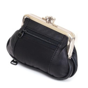 Leather Womens Wallet Metal Frame Coin Purse ID Credit Card Case Coin Purse Mini Black 14cm x 10cm