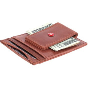 Leather Money Clip Magnet Slim Thin Front Pocket Wallet Alpine Swiss ID & Cards Brown Magnet Money Clip