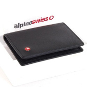 Leather Card Case Front Pocket Wallet ID Window Slim Thin Mini By Alpine Swiss Black