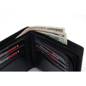 Mens Leather Wallet Zipper Coin Purse 6 Card Slots 3 More Pockets 2 Bill Section Black OSFA