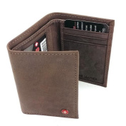 Alpine Swiss Mens Trifold Wallet Genuine Leather Card Case ID Window Billfold NW Brown One Size