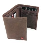 Alpine Swiss Mens Trifold Wallet Genuine Leather Card Case ID Window Billfold NW Brown One Size