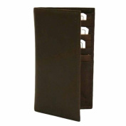 Luxury Divas Brown Leather Men's Long Chequebook Holder Wallet