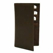 Luxury Divas Brown Leather Men's Long Chequebook Holder Wallet