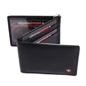 Mens Leather Wallet Spring Money Clip Z Shape Trifold Bifold 11 Card Slots 2 IDs Black