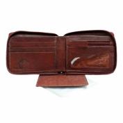 Luxury Divas Burgundy Leather Men's Zipper Wallet Photo Coin & Cc