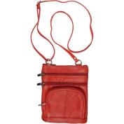 Brinley Co. Womens Genuine Leather Multi-pocket Crossbody Bag