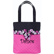 Its A Girls Life HRT-01 Dance Tote Quilted with Heart Ribbon Trim