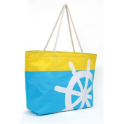 Magid Two Tone Nautical Steering Wheel Canvas Rope Tote Handbag