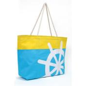 Magid Two Tone Nautical Steering Wheel Canvas Rope Tote Handbag