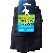 Genuine Grain Leather Half Finger Glove