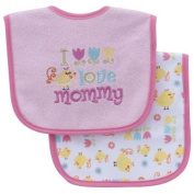 Parent's Choice Girls' Baby Bib, I Love Mommy, 2-Pack