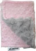 Lil Cub Hub BCPDSR Burp Cloth - Pink Dot with Silver Rosebud Swirl