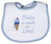 Raindrops 6326B Raindrops -Twice as much to Love- Embroidered Bib, Blue