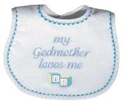 Raindrops 6691B Raindrops -My Godmother Loves Me- Embroidered Bib, Blue