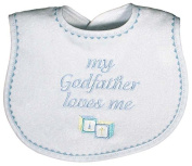 Raindrops 669-B Raindrops -My Godfather Loves Me- Embroidered Bib, Blue