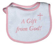 Raindrops 6035P Raindrops -A Gift from God- Embroidered Bib, Pink