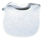 Raindrops 6145F Raindrops -My Godfather Loves Me- Embroidered Bib, Binding