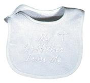 Raindrops 6145F Raindrops -My Godfather Loves Me- Embroidered Bib, Binding
